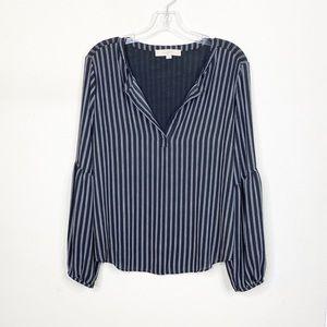 LOFT Black Long Sleeve Stripe V Neck Blouse Small